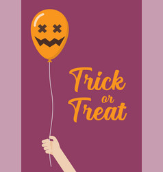 Kid hand holding scary air balloons vector
