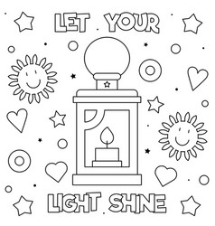 Let your light shine coloring page black vector