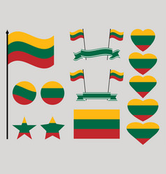 lithuania flag set collection of symbols heart vector image