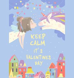 Little girl kissing magic unicorn love concept vector