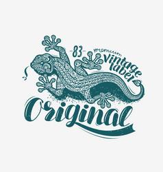 lizard label t-shirt design vintage animal vector image