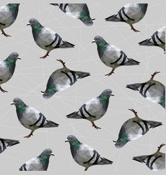 Low poly pigeon bird on gray back ground vector