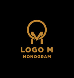 Luxury initial m logo design icon element isolated vector