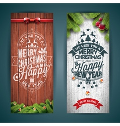 Merry Christmas banner with typography design vector