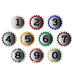 metal bottle cap numbers vector image