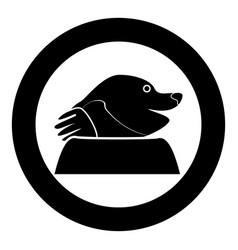 mole icon in round black color for garden craft vector image