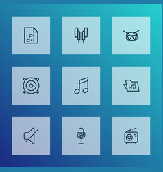 music icons line style set with drum mute folder vector image