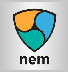 nem xem blockchain cripto currency logo vector image