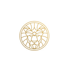 Outline emblem geometric lion head in circle vector