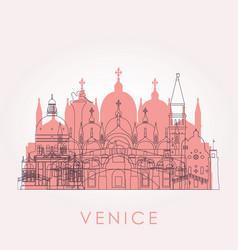 outline venice skyline with landmarks vector image