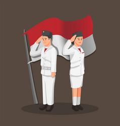 Paskibraka indonesian flag raiser couple icon vector