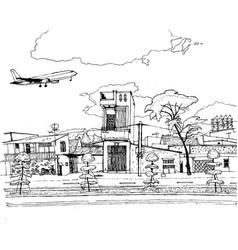 Passenger plane flies over city schedule vector