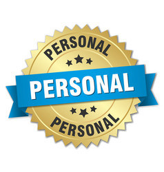 Personal 3d gold badge with blue ribbon vector