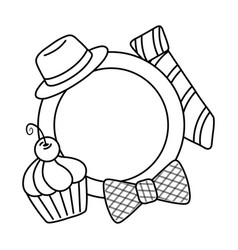 plate with hat bow tie and muffin black and white vector image