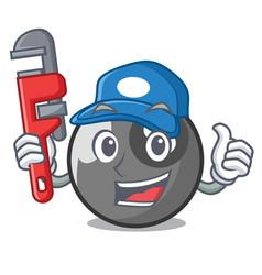 Plumber billiard ball mascot cartoon vector