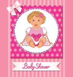 postcard of baby shower with cute nice girl on vector image