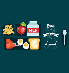pupils lunch horizontal banner dinner tray with vector image