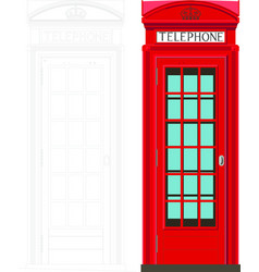 Red phone box color london england uk high vector
