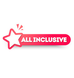 Round label all inclusive banner with star icon vector