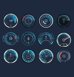 Set isolated car or moto truck speedometer vector