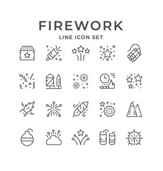 Set line outline icons firework vector