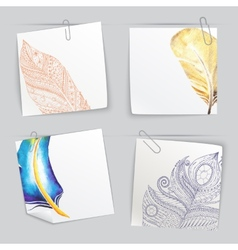 Set of stick notes with light doodle feathers vector