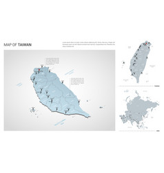 Set taiwan country isometric 3d map taiwan map vector