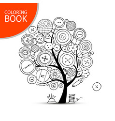 Sewing crafts art tree page for your coloring vector