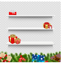 shelves with christmas gift box transparent vector image