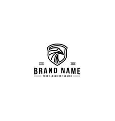 Shield and eagle logo design vector