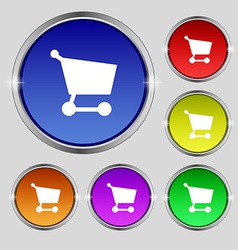 Shopping basket icon sign Round symbol on bright vector