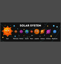 Solar system planets with funny faces out in space vector
