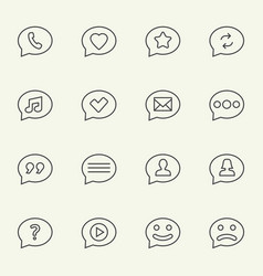 Speech bubble line icons vector