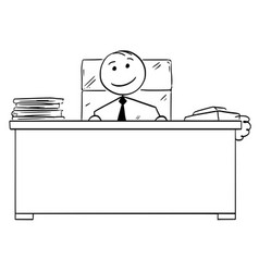 Stick man cartoon of happy good boss smiling vector