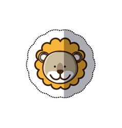 Sticker colorful picture face cute lion animal vector