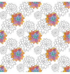 succulent doodle seamless pattern vector image