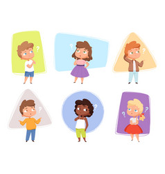 thinking kids children asking question expression vector image