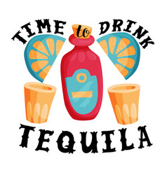Time to drink tequila bar poster vector