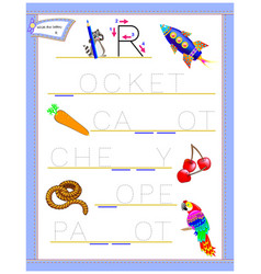 Tracing letter r for study english alphabet vector