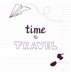 Travel card with paper plane vector