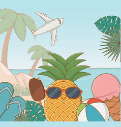 tropical pineaple character on beach scene vector image