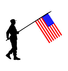 United states america soldier flag silhouette vector