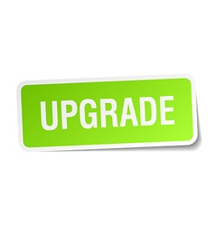 Upgrade green square sticker on white background vector