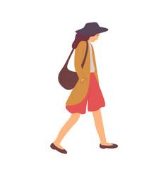 Upset woman after quarrel walking bad mood vector
