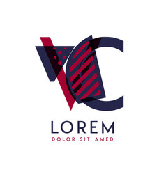 Vc simple logo design with blue and maroon color vector