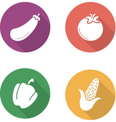 Vegetables flat design icons set vector