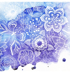 watercolor texture with floral ornament Wet paper vector image vector image