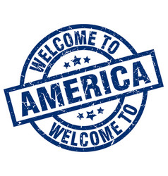 Welcome to america blue stamp vector