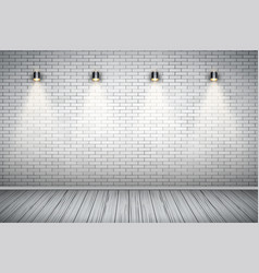 white brick wall room with vintage spotlights vector image