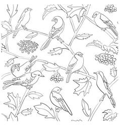 white seamless pattern with black bird silhouettes vector image